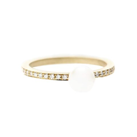 Petite Lisa Pavé 14kt Gold Ring With Pearl and Diamonds