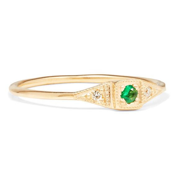 10 Affordable Engagement Rings: Jennie Kwon Designs Mini Deco 14-Karat Gold, Emerald and Diamond Ring