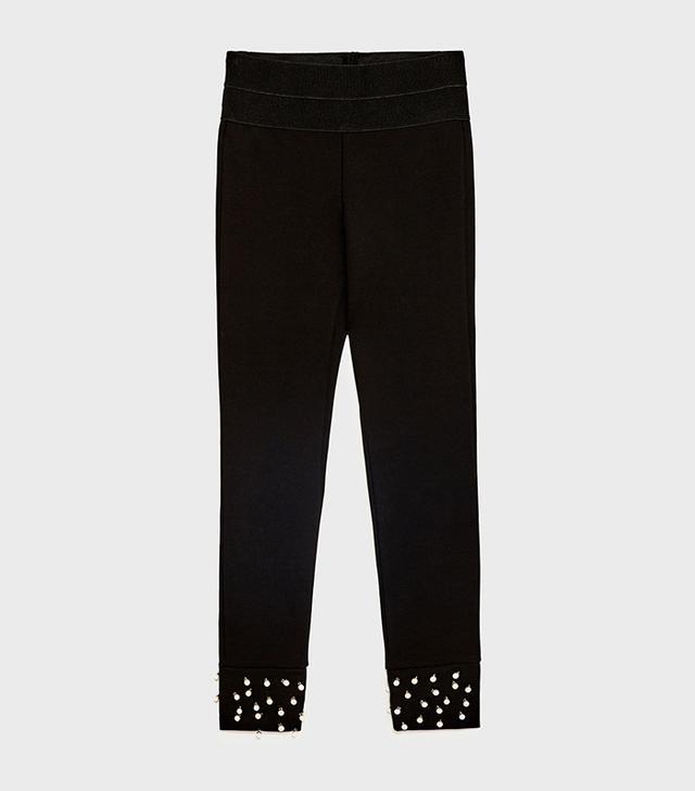 Zara Leggings With Pearl Details