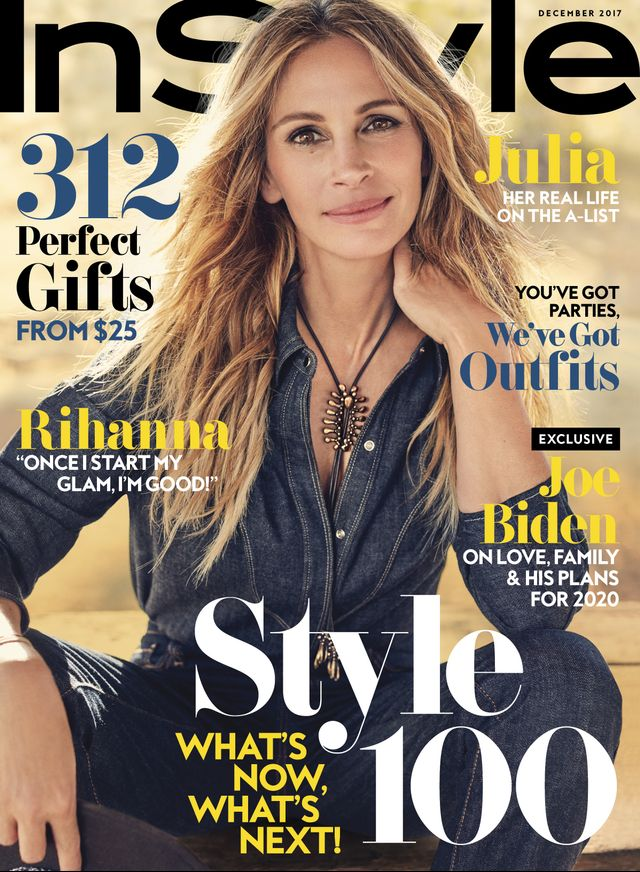On Julia Roberts:AG shirt and jeans
