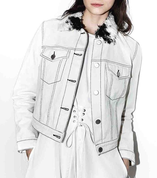 Denim jacket with sherpa collar-WHITE