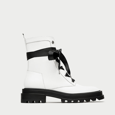 Flat Two-Tone Leather Ankle Boots
