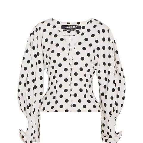 La Chemise Boutons Polka-Dot Crepe Blouse