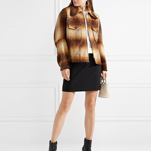 Oversized Checked Mohair-Blend Bouclé Jacket