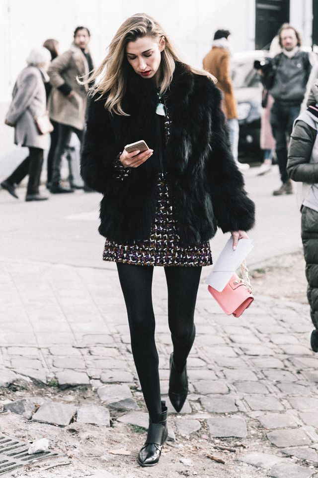 street style dress with tights and boots