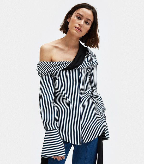 Calla Top in Stripe Silk Twill
