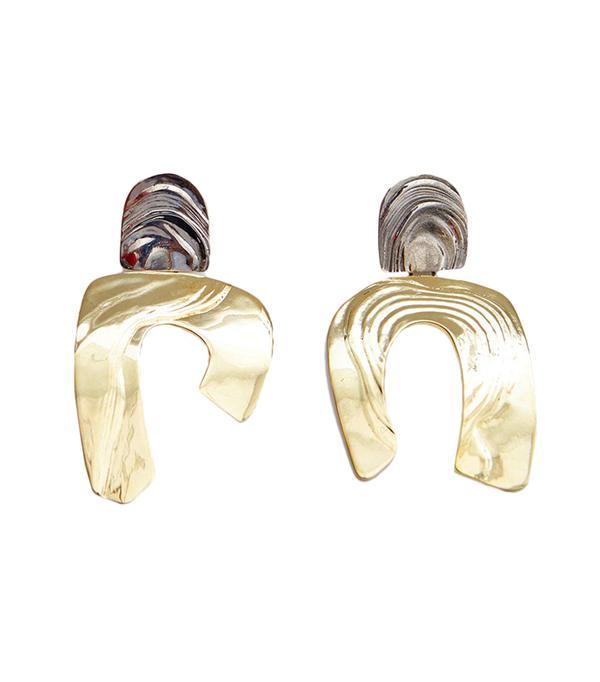 Totem Earrings in White Bronze/Brass