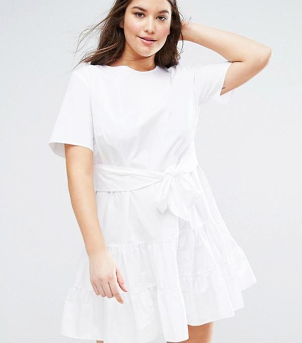 ASOS CURVE Tiered Cotton Mini Dress