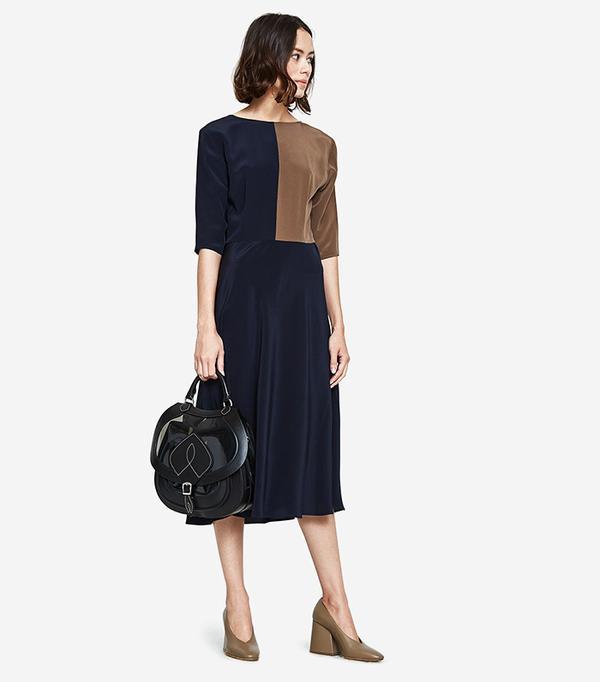 Farra Dress in Walnut/Midnight