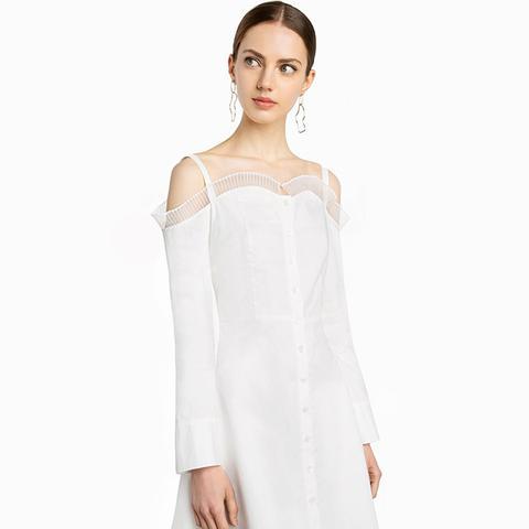 Elle White Ruffled Cold Shoulder Dress