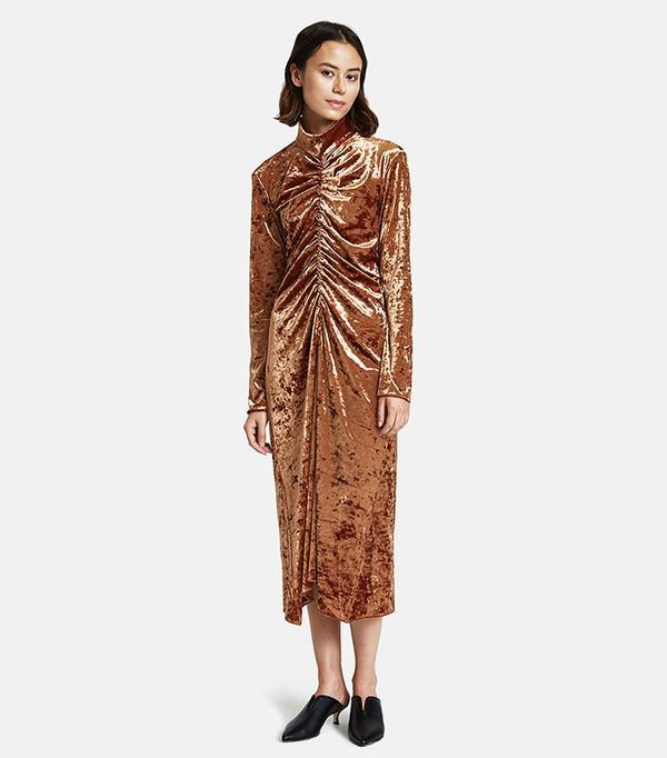 Velvet Dress in Rust