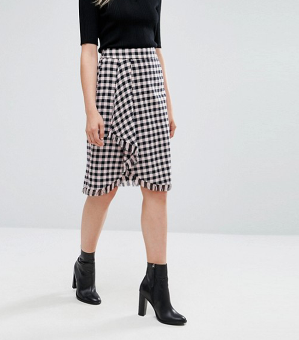 Diario Gingham Wrap Skirt