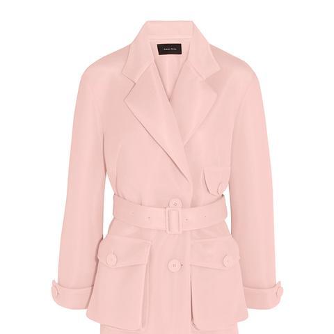 Belted Scuba-Mesh Jacket