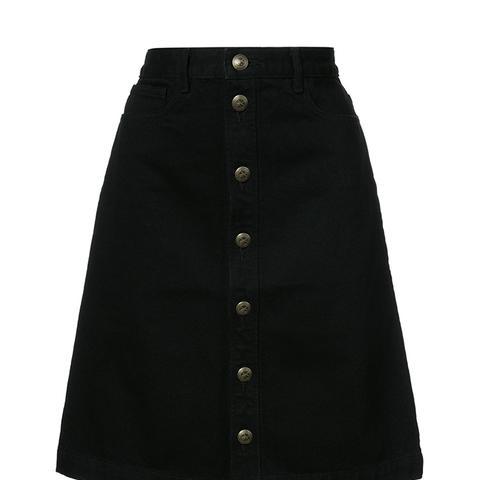 Buttoned A-Line Skirt