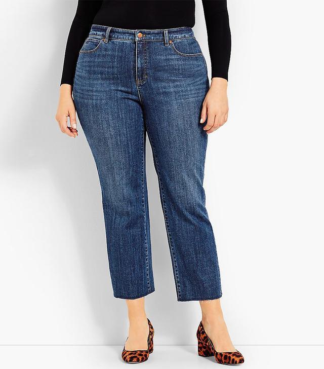 Talbots Frayed-Hem Straight-Leg-McCully Wash Jeans