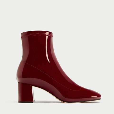High-Heel Faux-Patent Ankle Boots