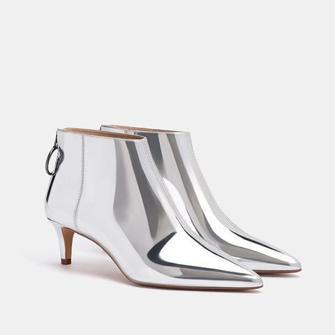 Mid-Heel Metallic Ankle Boot