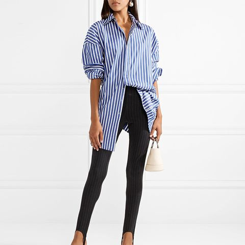 Vaile Pinstriped Stretch-Jersey Skinny Stirrup Pants