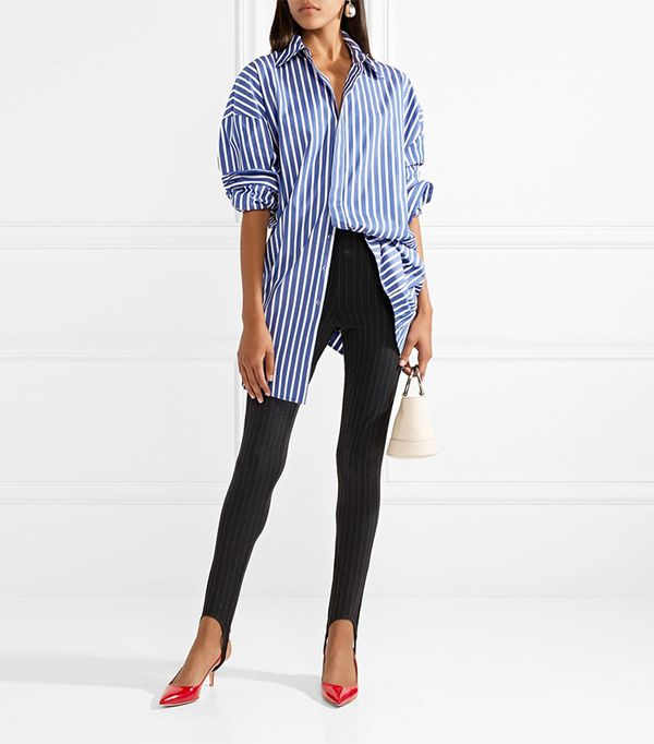 Totême Vaile Pinstriped Stretch-Jersey Skinny Stirrup Pants