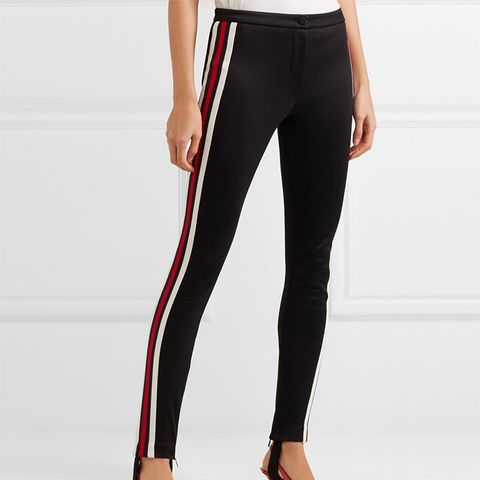 Striped Tech-Jersey Stirrup Leggings
