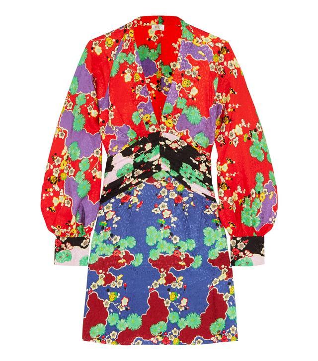 Rixo London Alanna Printed Silk-Jacquard Mini Dress