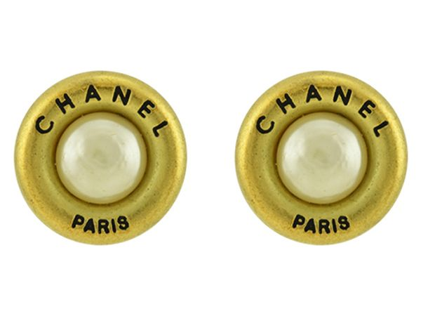 Chanel CC logo Clip Ons With Faux Pearl Embellishments
