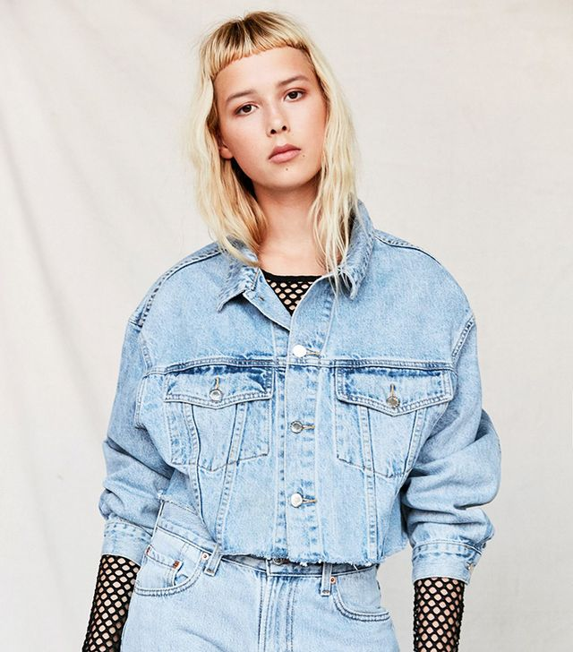 Recycled Frayed Cropped Denim Jacket - Indigo L at Urban Outfitters