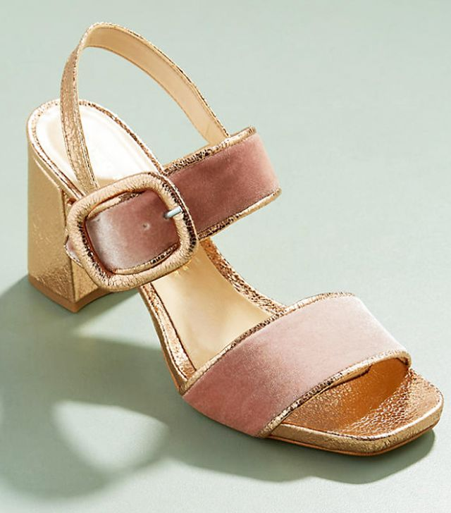 Anthropologie footwear: Pink and gold sandals