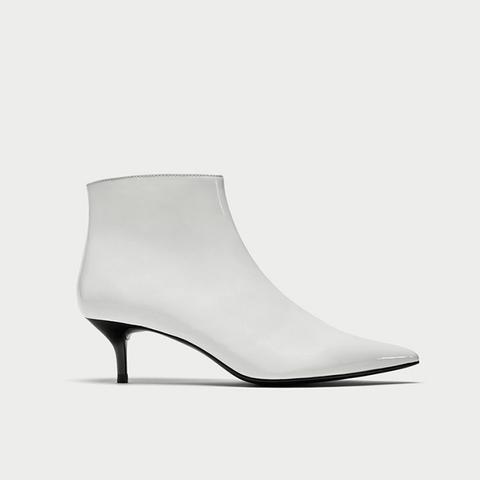 Kitten Heel Faux Patent Ankle Boots