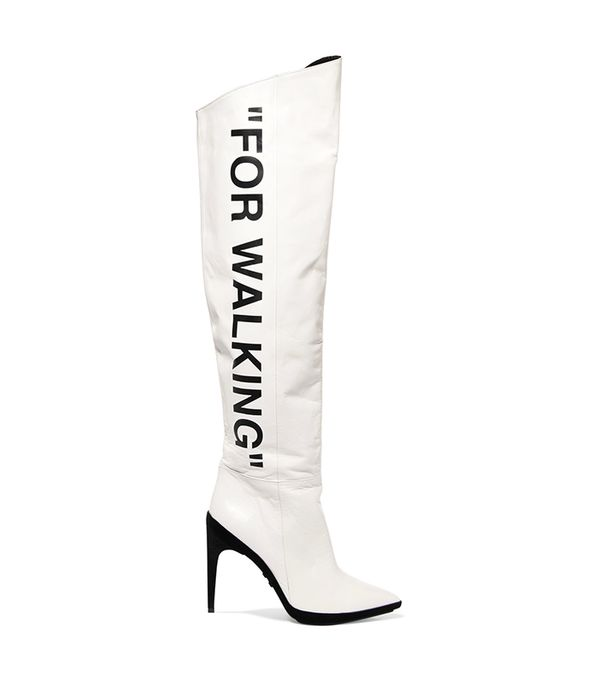 For Walking Printed Leather Over-the-knee Boots