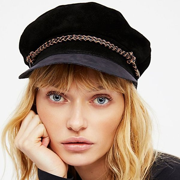 Yes, You Can Look Cool Wearing a Baker Boy Hat—Here's How, Free People Kayla Leather Lieutenant Hat