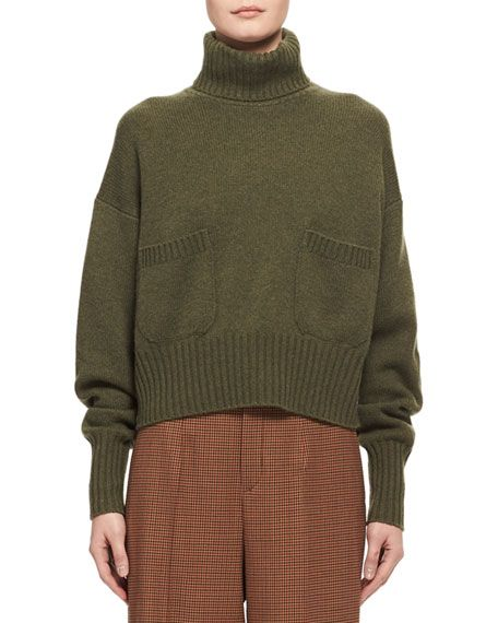 Chloé Cashmere Patch-Pocket Turtleneck Sweater