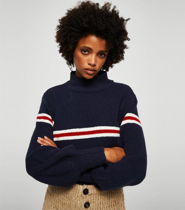 Mango Striped Contrast Sweater in Dark Navy