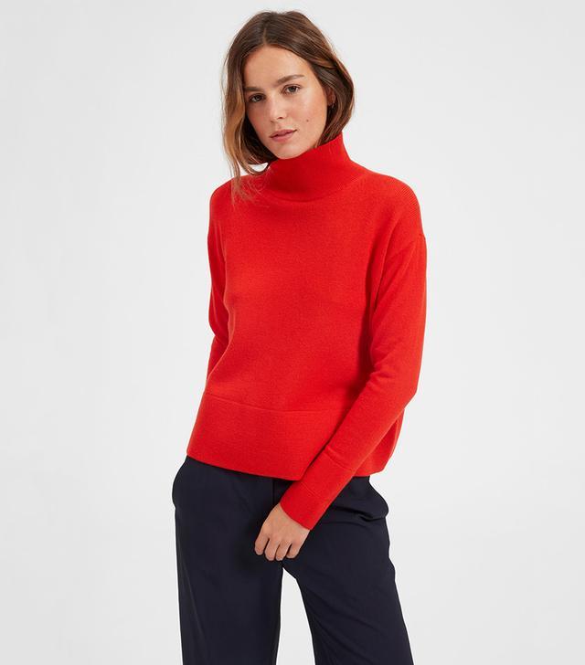 Everlane Cashmere Square Turtleneck Sweater in Persimmon