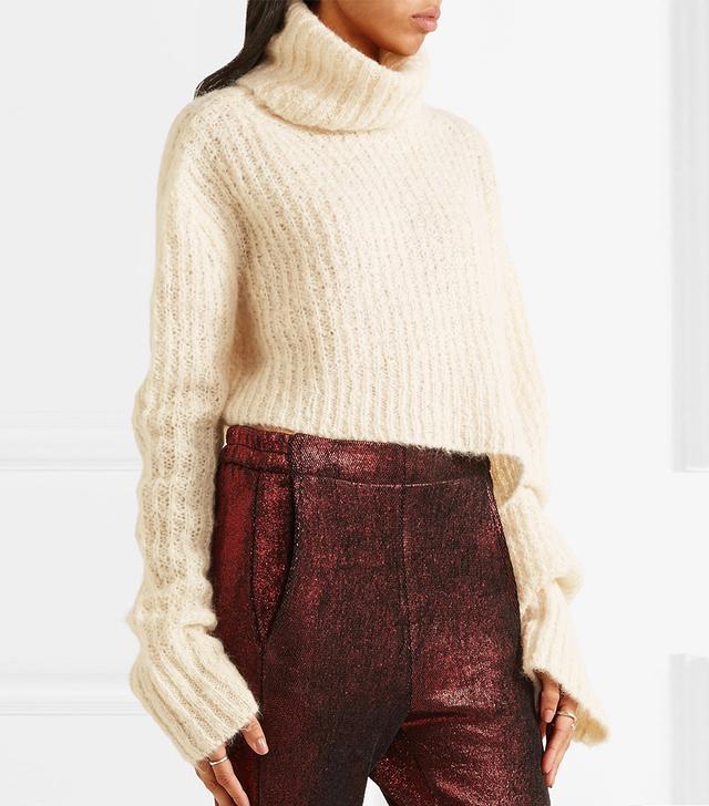 Ann Demeulemeester Asymmetric Chunky-Knit Turtleneck Sweater
