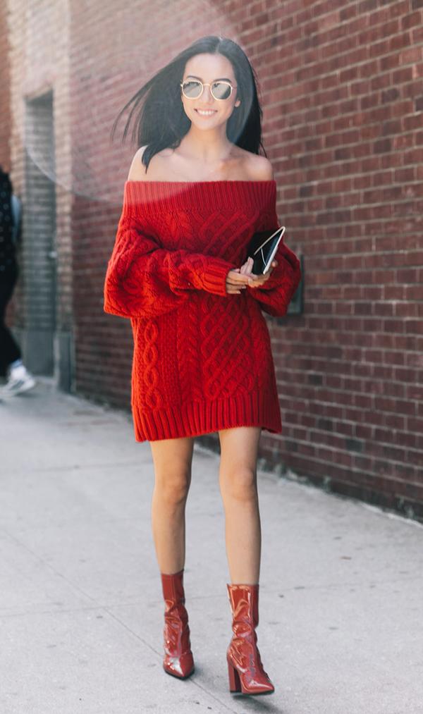 Off-the-Shoulder Knit Dress