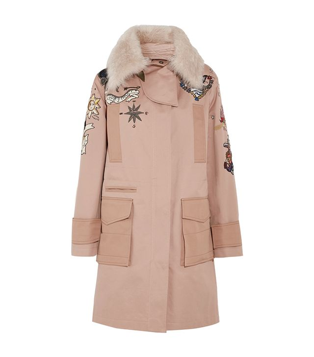 Shearling-trimmed Beaded Cotton-twill Parka
