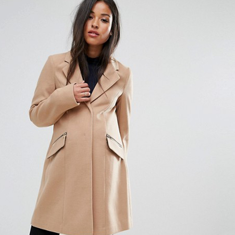 Slim Boyfriend Coat with Zip Pocket