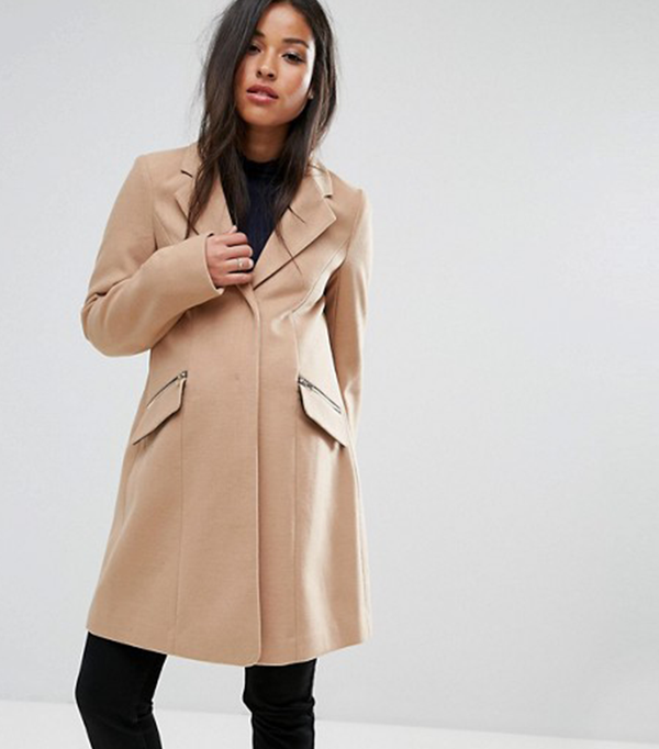 ASOS MATERNITY Slim Boyfriend Coat with Zip Pocket