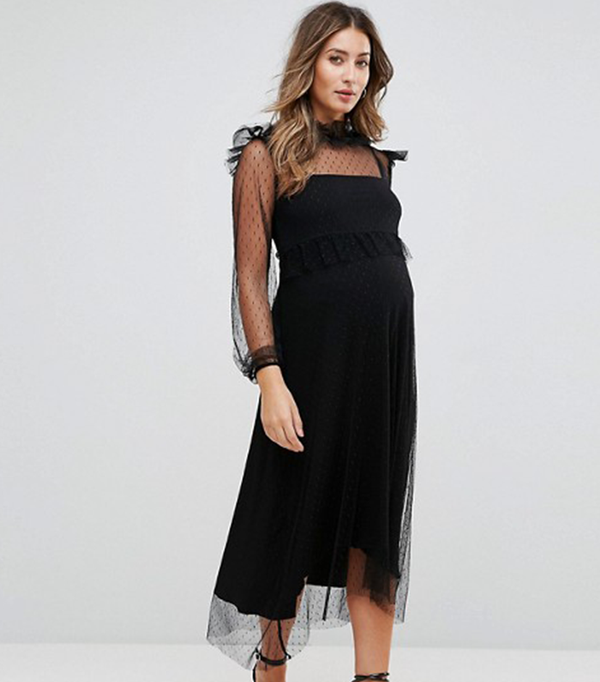 GeBe Maternity Midi Dress In Spot Mesh And Long Sleeve