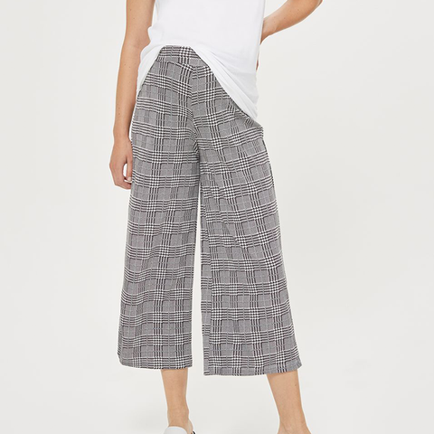 Maternity Checked Wide Leg Trousers