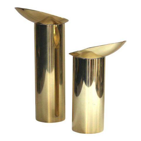 Danish Modern Brass Candlesticks