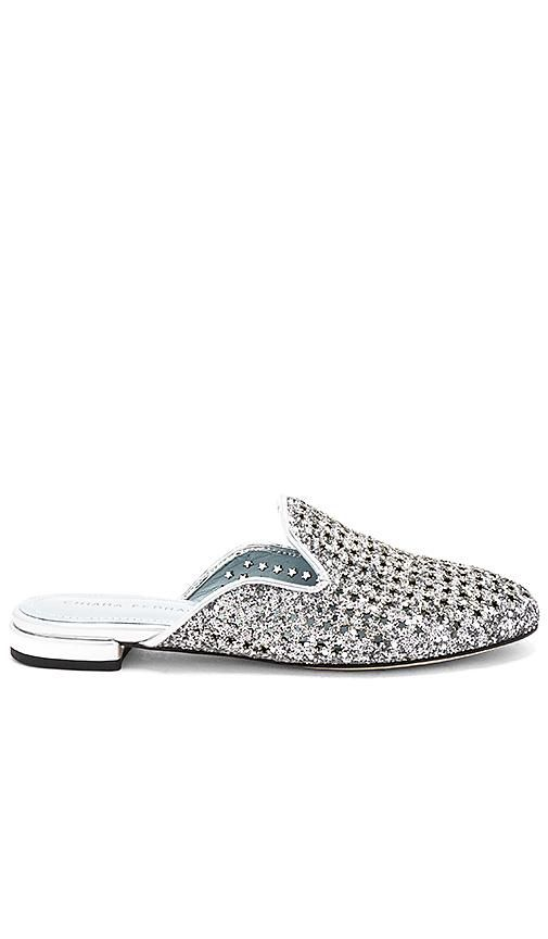 Net Glitter Slide in Metallic Silver. - size 36 (also in 35,37,38)