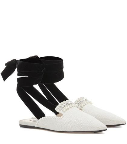Elena embellished canvas mules