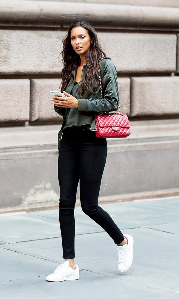 Bomber Jacket + Black Skinny Jeans + Sneakers