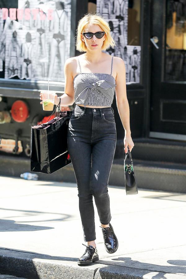 emma roberts skinny jeans and flats