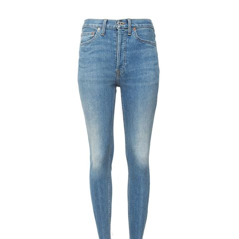 High Rise Ankle Crop Stretch Jeans