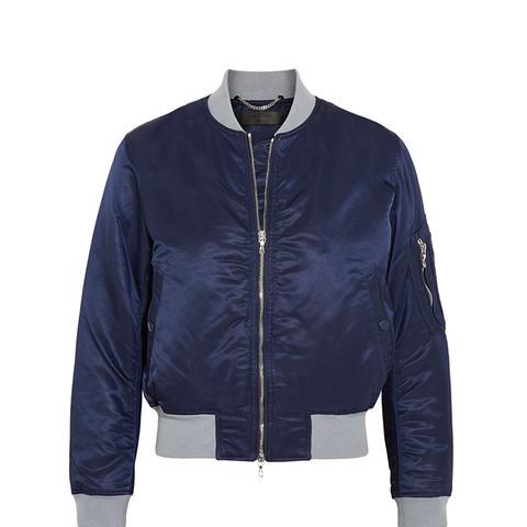 Manston Jersey-Trimmed Satin Bomber Jacket