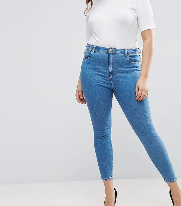 ASOS CURVE RIDLEY High Waist Skinny Jean In Lily Mid Wash Blue