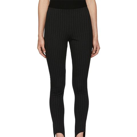 Black Pinstripe Vaille Ski Leggings